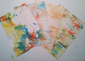 "Ten minute art idea-  ""Tie dyed"" paper"